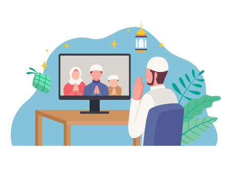 Muslim man celebrating Eid al-Fitr. Islamic people greeting with teleconference in holiday Eid Mubarak. Vector illustration in a flat style