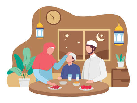 Muslim family eating Ramadan iftar together. Moslem family preparing iftar meal. Vector illustration in a flat style Ilustração