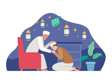 Muslim people celebrating eid al-fitr. Shaking hands wishing each other, Families gather together. Vector illustration in a flat style