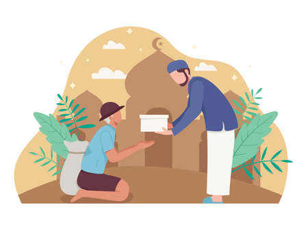 Man giving alms or zakat in the holy month of Ramadan. Muslim giving donation to a poor homeless man. Vector illustration flat style Ilustração