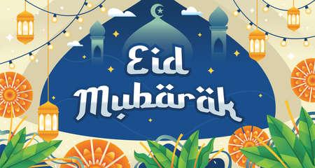Eid Mubarak greeting Card Illustration. Vector illustration of fasting month Ramadan. Eid Mubarak Islamic holiday greeting phrase