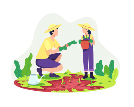 Parents gardening with their children. Father planting with his daughter, Parenting concept. Outdoor family activities together, Togetherness of father and daughter. Vector illustration in flat style