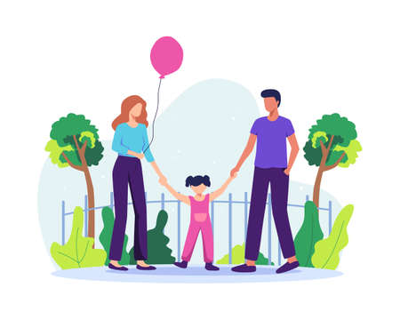 Family spending time together. Happy parents with daughter having fun together. Little girl with balloons, Parenting and childhood concept. Vector illustration in a flat style Vettoriali