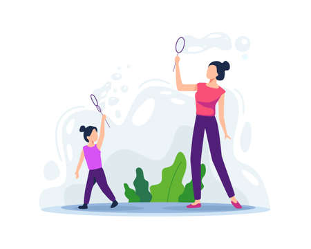 Mother playing with her daughter. Soap bubble blowing, Happy parents and child outdoor game. Togetherness of mother and daughter. Summer fun activity for children. Vector illustration in a flat style