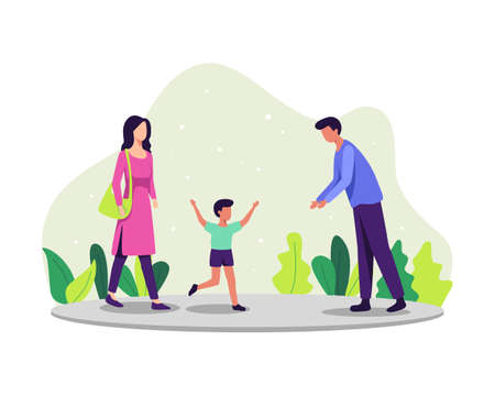 Parenting concept illustration. Family enjoying time together, Parents and their son. The little boy ran to his father. Vector illustration in a flat style
