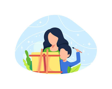 Mother painting with her son. Parents draw picture with their son, Creative hobby for children. Vector illustration in a flat style
