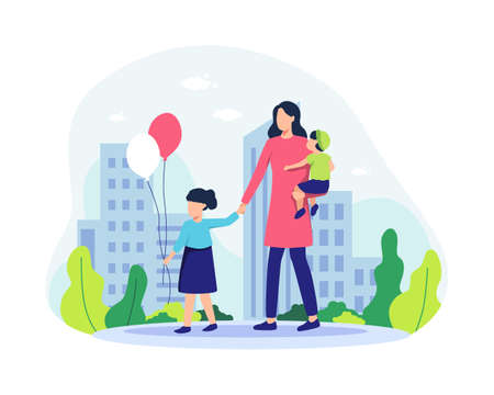 Mother and her children walking in the park. Family spending time together, Happy parents with daughter and son having fun together. Little girl with balloons. Vector illustration in a flat style Vettoriali