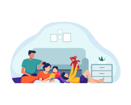 Family spending time together. Parents and children at home, Mother and Father playing with kids at home. Family indoor activity, happy dad, mom and kids playing. Vector illustration in a flat style