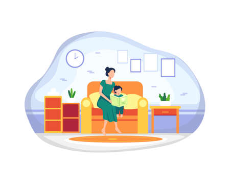 Happy Mother with her daughter. Mother and daughter reading story book together sitting on the couch. Bedtime story, Concept motherhood child-rearing. Vector illustration in a flat style