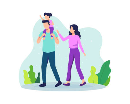 Family walking together in the park. Father holding daughter on his shoulders. Family illustration includes Father, Mother, and Daughter. Vector illustration in a flat style