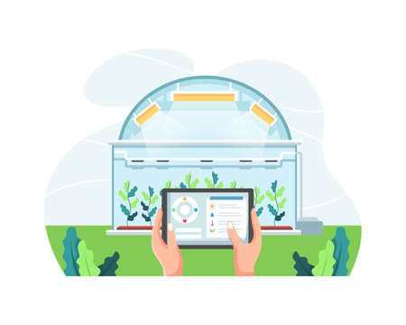 Farmer holding tablet managing farm in greenhouse. Smart and sophisticated farming concept, Hands holding tablet checking plants. Modern agriculture with automation. Vector illustration in flat style