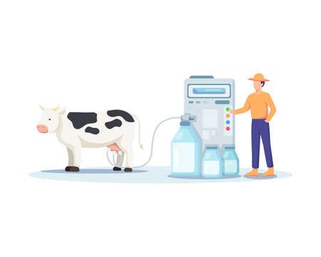 Illustration of a farmer milking a cow. Modern and sophisticated farming concept, Milking cows with a milking machine. Man operating a machine, Fresh dairy products. Vector illustration in flat style