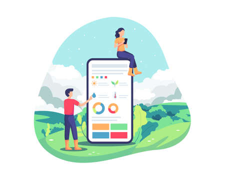 Innovative technology for agriculture. Agricultural automation with remote control, Application on smartphone. Plantation smart analysis, sophisticated farming concept. Vector illustration flat style Vettoriali