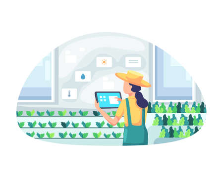 Young female farmer holding tablet checking vegetables. Smart and sophisticated farming concept, Managing a farm in a greenhouse. Modern farming with automation. Vector illustration in a flat style