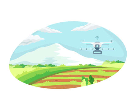 Smart farming tech with irrigation drone. Concept of Agriculture technology and smart farm, Agricultural automation with drone control. Vector illustration in a flat style Vettoriali