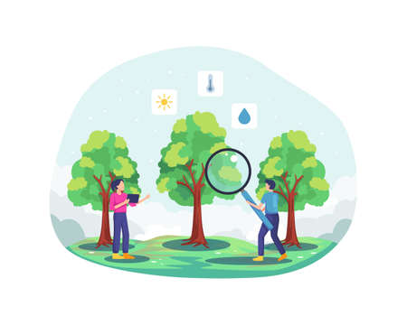 Young farmer checking and analyzing plantation. Modern and sophisticated farming concept. Men carry a magnifying glass and a woman holding a tablet. Vector illustration in a flat style Vettoriali