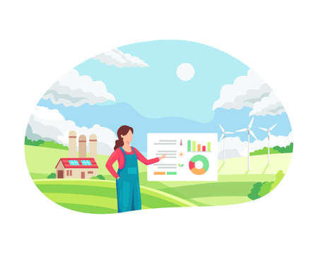 Female farmer managing her industrial farm. Smart farming concept, Innovative approach in agricultural industry. Smart farmer monitor and analysis data in her farm. Vector illustration in a flat style Vettoriali