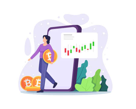 Cryptocurrency marketplace. Bitcoin concept, Cryptocurrency and block chain technology. Digital money investment and trading. Woman carrying coins with big smartphone behind her. Vector in a flat style