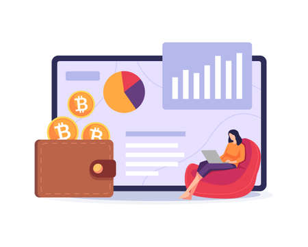 Bitcoin wallet illustration. Payment method with digital money, Cryptocurrency mining concept. Woman sitting in the couch with laptop, Digital currency wallet. Vector illustration in a flat style