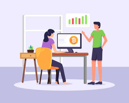 Cryptocurrency market vector illustration. Cryptocurrency trading and courses, Digital currency exchange, Blockchain technology. People analyze chart, Digital money investment. Vector in a flat style