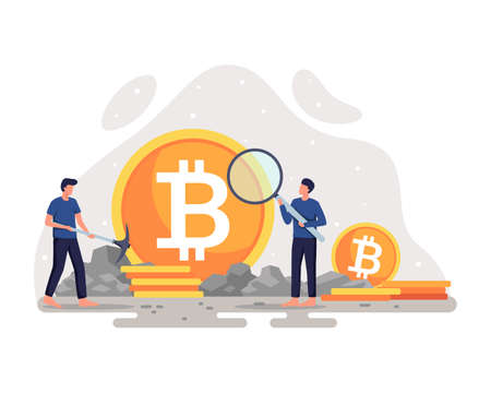 Crypto currency mining illustration. Cryptocurrency concept with miner and coins. Young men with magnifying glass and pickaxe working in bitcoin mine. Blockchain technology concept. Vector flat style