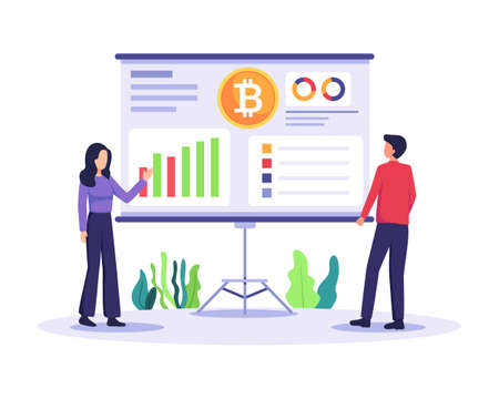 Cryptocurrency marketplace illustration. People analyze chart, Digital stock market trading. Digital money, Crypto exchange and Blockchain technology. Vector illustration in a flat style