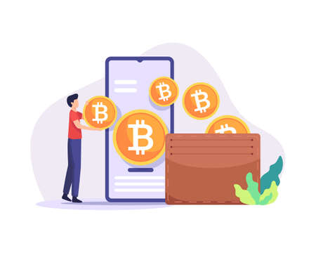 Bitcoin wallet illustration. Payment method with digital money, Cryptocurrency mining concept. Man holding bitcoin coins, Digital currency wallet, Mobile payments. Vector illustration in a flat style