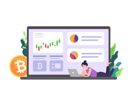 Cryptocurrency marketplace illustration. People analyze chart, Digital stock market trading, Digital money investment. Bitcoin concept, Cryptocurrency and blockchain technology. Vector in a flat style