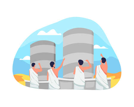 Jamarat ritual in Hajj illustration. Performs symbolic stoning of the devil by throwing stones at the pillar. Jamarat, One of Islam's sacred pilgrimage step. Vector illustration in a flat style Vettoriali
