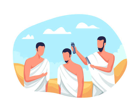 Hajj and umrah islamic pilgrimage ritual. Muslim characters shave or trim hair, Ritual of Hajj pilgrimage. Hajj pilgrims shave their heads, Tahallul with shaved hair. Vector illustration in flat style