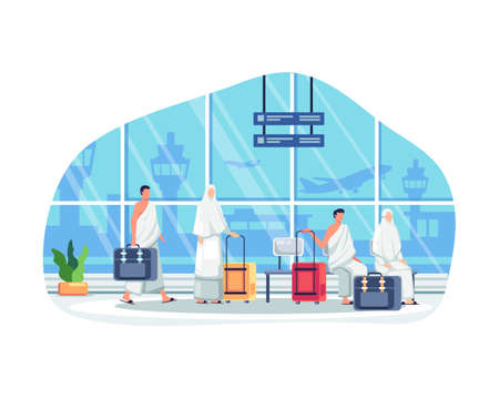 Islamic Pilgrims Waiting For Departure At Airport. Islamic pilgrims at airport waiting for pilgrimage trip to Mecca. Muslims people in hajj mabrur. Vector illustration in a flat style