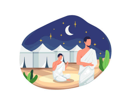 Muslim pilgrims at Mina tents area. One of Islam's sacred pilgrimage route, Hajj pilgrims praying and resting in Mina. Vector illustration in a flat style Vettoriali
