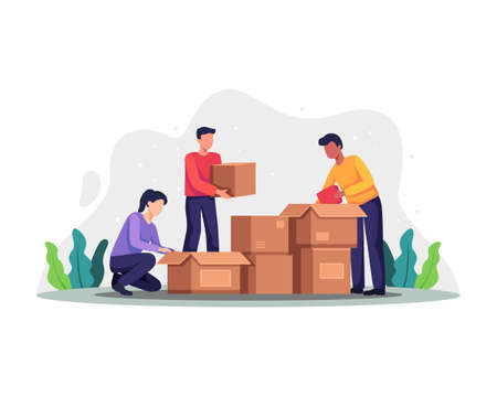 Volunteers packing donation boxes. People collect different things in donation boxes, Donation and charity concept. Vector illustration for charity, welfare, assistance concept. Vector in a flat style