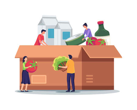 Food donation box illustration. Tiny people characters filling cardboard donation box. Volunteers collect aid with food and groceries for homeless and poor people. Vector illustration in a flat style