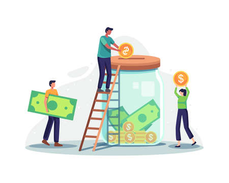 Charity and money donation. Tiny people character putting money into huge glass jar for donate. Male character stand on ladder throw coins, Fundraising concept. Vector illustration in a flat style
