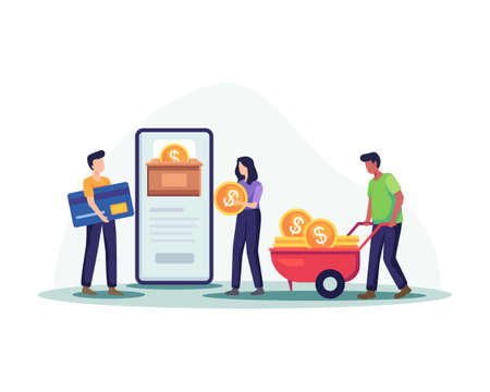 Online money donation illustration. Male and female characters collecting coins and paying by credit card for donated. Donation by online payments, Fundraising technology. Vector in a flat style