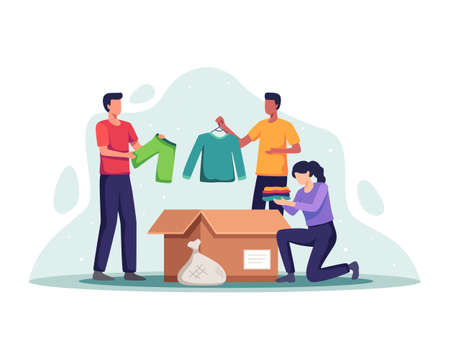 Clothing donation concept. Volunteers with donation box and packing clothes, Woman putting clothes in donation box. People donating clothing, Reuse, Second hand. Vector illustration in a flat style