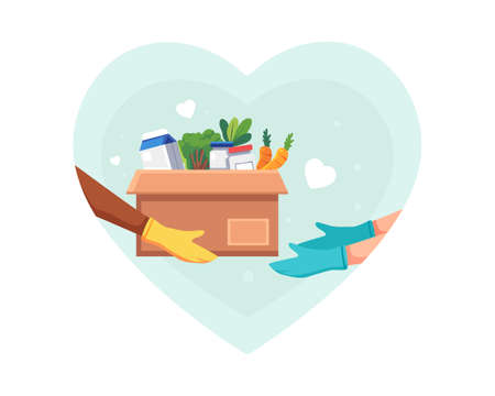 Food and groceries donation illustration. Volunteer holding a donation box with food using protective gloves, giving a donation box, Solidarity and charity concept. Vector illustration in a flat style