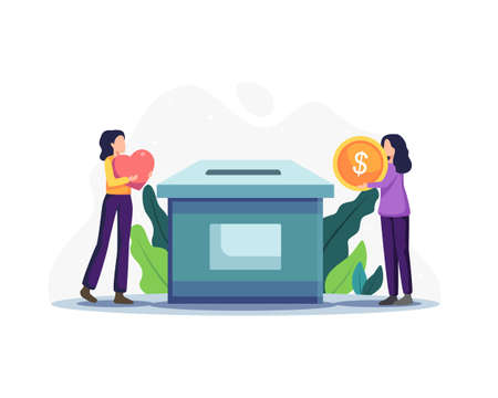 Charity and money donation. People are putting money in the donation box. Women throw gold coins and heart into a box for donations, Donation and funding concept. Vector illustration in a flat style