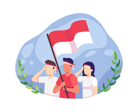 Youth celebrate Indonesia's independence day. Indonesia independence day on August 17th. People celebrate the national day of independence pay homage to the Indonesian flag. Vector in a flat style Vettoriali