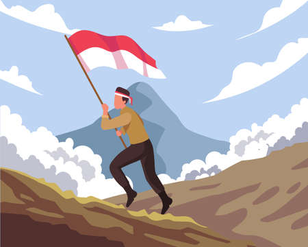 Happy national heroes day. Indonesian soldier running carrying the Indonesia flag. The Indonesian national heroes day celebration. Vector illustration in a flat style Vettoriali