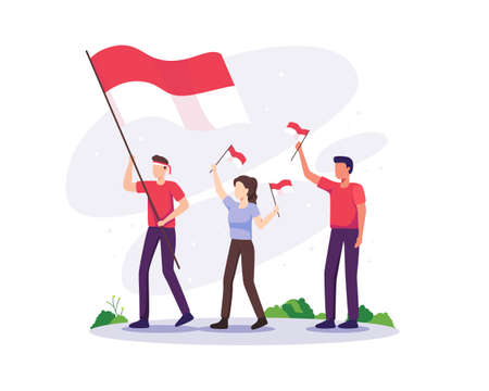 People celebrate independence day. Indonesia independence day on August 17th. People celebrate the national day of independence with holding Indonesia flag. Vector illustration in a flat style Vettoriali