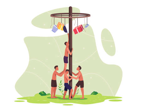 People celebrate Indonesia independence day. Indonesia traditional games during independence day. Participants teams working together to climb to get a prize on top of a pole. Vector in a flat style