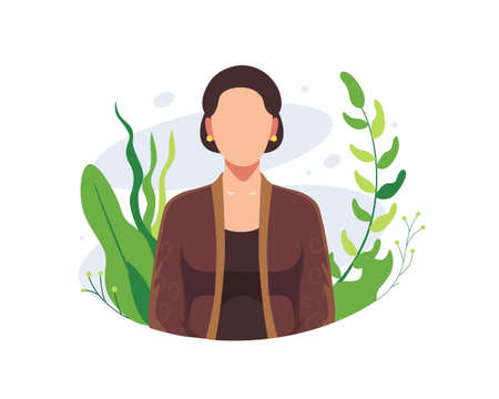 Happy Kartini day illustration. Indonesian female heroes, Women empowerment, Kartini brave female with flowers. R A Kartini the heroes of women and human right in Indonesia. Vector in a flat style