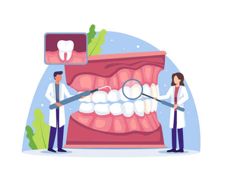 Dentists examine or treat human teeth. Dental doctor diagnosis and treatment human teeth, Oral hygiene medicine concept. Vector illustration in a flat style Vettoriali