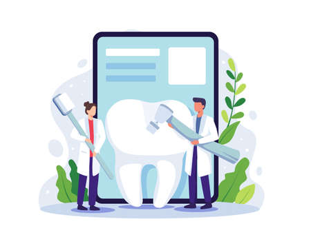 Small dentists cleaning big tooth. Dentist online service, Dentist in uniform treat tooth using medical equipment. Vector illustration in a flat style