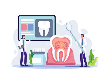 Dentists online conference illustration. Dental doctor diagnosis and treatment human teeth, Oral hygiene medicine concept. Vector illustration in a flat style Vettoriali
