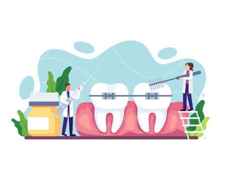 Orthodontic care procedure illustration. Dental doctor in uniform treating human teeth using medical equipment. Dental braces and tooth plate. Vector illustration in a flat style Vettoriali