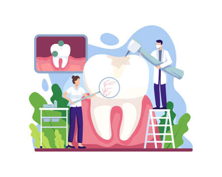 Caries treatment illustration. Dental doctor treating human teeth using medical equipment. Stomatology, healthcare and dentistry concept. Vector illustration in a flat style Vettoriali