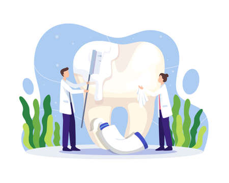 Dentist cleaning teeth illustration. Oral health and dentistry hygiene. Dentist cleaning and brushing big tooth with toothbrush and paste. Vector illustration in a flat style